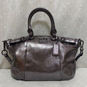 Sophia Madison Metallic Gunmetal Leather Satchel